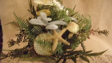ARTIFICIAL FLOWERS SEASHELL STARFISH  FERN IN ROUND POT