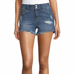 Vanilla Star Women's Juniors Denim Mid-Rise Shorts Size 5 Medium Wash Throwback