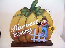 Wood Gold Pumpkin Harvest Blessings Crow Autumn Halloween Desk Sign Decoration