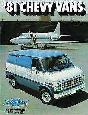 1981 Chevy VAN Brochure / Catalog w/Color Chart: SportVan,G-10,G-20,G-30,Step,