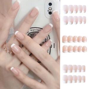 48Pcs Fake Nails Short Square Ballerina French Press On Glue Gel Nails Art Tips_