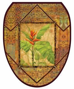Toilet Tattoos Lid Decor Bird of Paradise Safari  Brown with Orange Flower