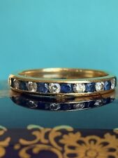 Tiffany & Co 18K Yellow Gold Diamond Sapphire Channel 3mm Ring Band .53 TCW