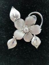Vintage Bond Boyd Sterling Silver Flower Leaf Detailed 3D Relief Brooch