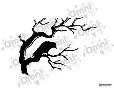 Crow On Tree silhouette / Branch Wall / Tile / Laptop- Vinyl Decal / Sticker