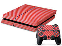 RED Carbon Fiber Sticker Wrap For PS4 Console 2 Controller Skin Durable