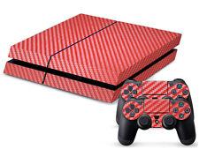Rouge fibre de carbone autocollant wrap pour console PS4 2 contrôleur peau durable