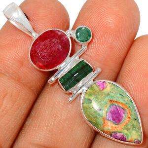 Ruby In Fuchsite, Ruby, Green Tourmaline & Emerald 925 Silver Pendant BP58290