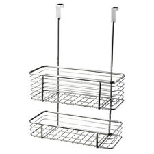 2 Tier Chrome Over Door Basket Storage Rack Shelf Kitchen Bath Organiser NEW