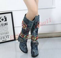 Women High Block Denim Mid Calf Boots Jeans Casual Fashion Winter Warm New Shoes