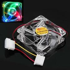 Colorful Quad 4LED Light 4pin Cooler Clear 80mm PC Computer Case Cooling Fan Mod
