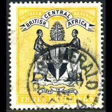 BRITISH CENTRAL AFRICA 1895 3s Black & Yellow. SG 27. Fine Used. (AF301)