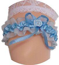 XXL Strumpfband Braut blau hellblau Röschen Schleifen Hochzeit bis 80cm Neu EU