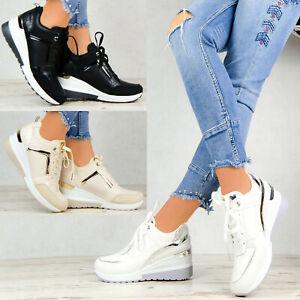 NEU Damen Schuhe Sneaker Weiß Plateau Sport Metallic Freizeitschuhe Keilabsatz