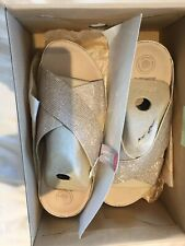 Fit flop crystal rose gold slip on shoes sandals  size 39 NEW IN BOX