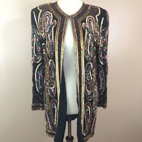 Scala Vintage Sequin Jacket Small Silk Rayon Lined Beaded Multicolor Rare Duster