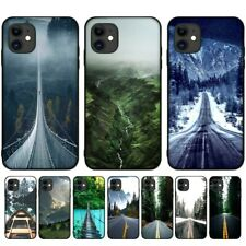 Phone Case For iPhone Nature Travel Mountain Forest Road Snow Scene Soft Cover