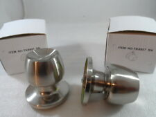 2 Pack Satin Nickel Dummy Door Knobs, Bolts from the Back Like Cabinet Knob