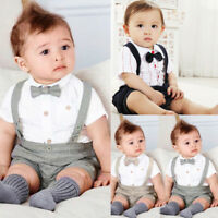 2PCS/Set Kids Baby Boy Gentleman Short Sleeve Shirt Tops+Suspenders Shorts Pants