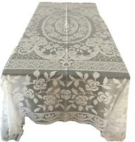 Mediterranean Style White Fresh Cotton Crochet Bed Cover, Tablecloth or Throw