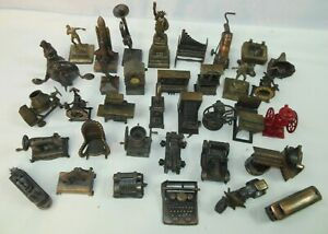 Vintage 37pc Lot Die Cast Metal Collectible Pencil Sharpeners,Figurines Rare