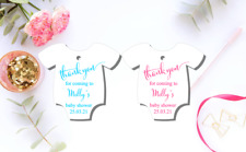 10 White Gift Tags Bomboniere Baby Shower Favour Personalised Thank you v2