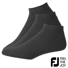 FOOTJOY COMFORT-SOFTⓇ MENS BLACK GOLF ANKLE GOLF SOCKS / 3 PAIR VALUE PACK