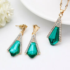 Geometric Shape Sapphire Pendant Necklace Emeral Earrings Special Jewelry Sets