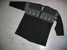 Belfe Strickjacke mit Reißverschluss, Wollgemisch, dunkelgrau/weiß, Gr. 38