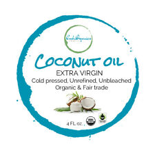 4 oz Organic Extra Virgin Coconut Oil FAIR TRADE Unrefined Unbleached glass jar