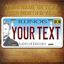 Illinois Land of Lincoln YOUR TEXT With DATES STICKER Aluminum License Plate Tag