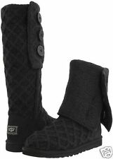 UGG Australia Girls Youth Kids Size 1 Black Lattice Cardy Knit Boot