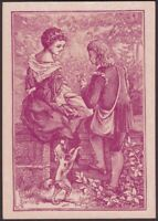 Playing Cards 1 Single Card Old Antique Wide Square Corner GIRL BOY LOVERS + Dog