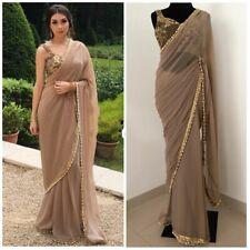 Designer Saree Georgette Sari with Net Sequence Blouse Sari Bollywood Sarees