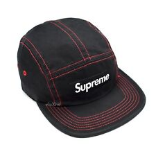 29a0db31b58 NWT Supreme NY Black Red Box Logo Contrast Stitch Camp Cap Hat SS18 DS  AUTHENTIC