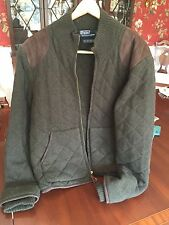 Ralph Lauren 'Polo' Lambswool and Suede Quilted Sweater-Jacket
