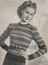 Vintage Knitting Pattern 1940s Lady's 2 Colour Fair Isle Jumper. Long Sleeves.
