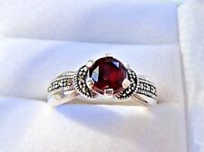 Sterling Silver Marcasite Garnet  Ring Size 8