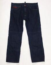 Moto jeans uomo XL denim biker pantalone usato con rinforzo interno blu T2795