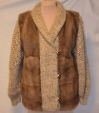 Mano Swartz Beautiful Beige/Lt.Brown Mink & Mohair Jacket/Coat-L-USA Md-Pristine