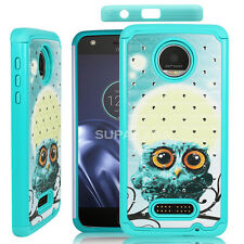 For Moto Z Play ShockProof Dual Layer Hard Case TPU Diamond Bling Crystal Cover