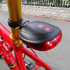 Cycling Bike Rear Tail Safety Warning 5 LED+ 2 Laser Flashing Lamp Light EBE