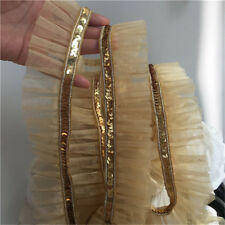 2yds Gold Sequins Lace Trim Gauze Ruffle Ribbon Fabric Costume DIY 1.77'' Width