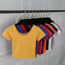 Short sleeve Basic T-shirt Crop Tops Women Slim Fit Tight Tees Summer Short Tops