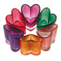 Glass Hearts Tealight Holders - Set of 6 Jewel Tone Tea Light Candle Holders