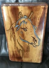 Horse Face Carved Wood Dark Stain Hand Painted Wall Hanging Country House