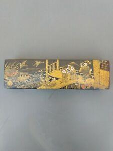 Ancien boite plumier en papier mâché décor scène Asiatique