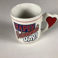 Valentine's Day Coffee Mug VTG 1998 Heart Handle Drink Cup Love Gift Happy 90s