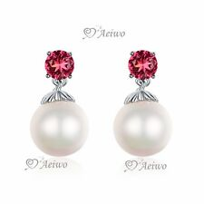 18K WHITE GOLD FILLED CRYSTAL EARRINGS ROSE IMITATION PEARL FASHION STUD