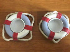 Pair of Life Ring Tea Light Holders Shabby Chic Nautical Bathroom Seaside Candle